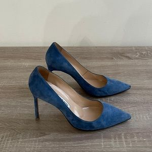 Manolo Blahnik - Blue Suede Pumps